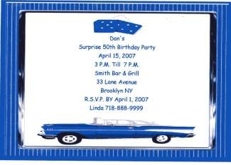 50th Birthday Chevy Personalized Invitation Free Shipping