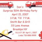 50th Birthday Fire Engine Personalized Invitation Free Shipping