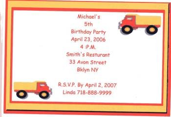 Dump Truck Party Invitation Personalized Free Shipping