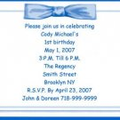 Birthday Blue Bow Invitation Personalized Free Shipping