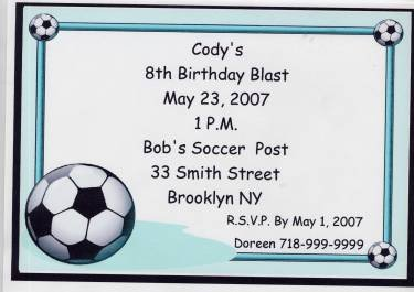 Soccer Party Invitation Personalized Free Shipping