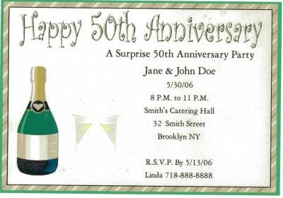 Anniversay Party Invitation Personalized