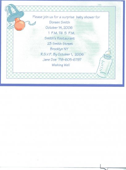 Pacifier Baby Shower Invitation Personalized Free Shipping