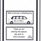 Wedding Limo Personalized Hershey 1.55 oz Wrappers FREE SHIPPING