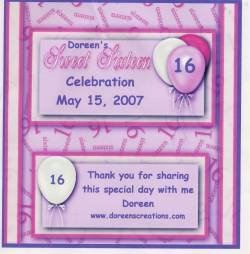 Sweet Sixteen Hershey 1.55 oz Personalized Free Shipping