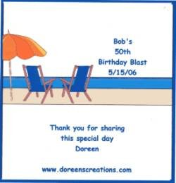 Birthday Beach Chairs Hershey 1.55 oz Personalized Free Shipping