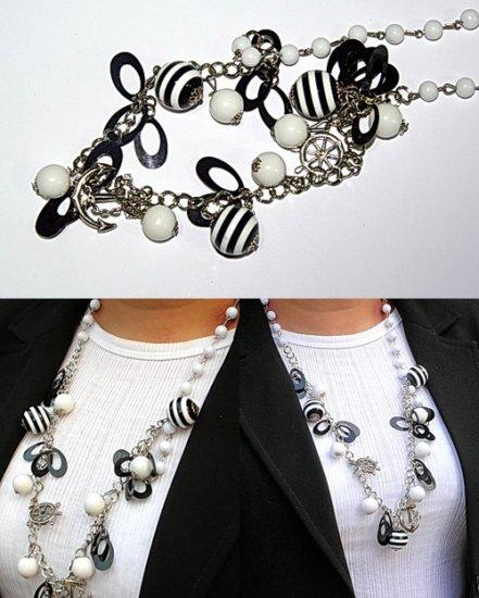 Black & White Bead Necklace Navy Theme BN_001