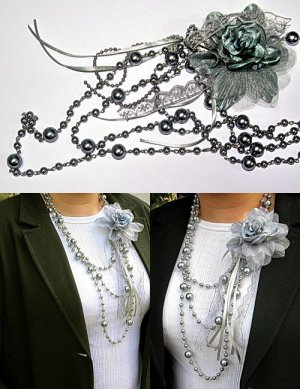 Cyan Pearl Like Double Layer Bead Necklace With Flower BN_002