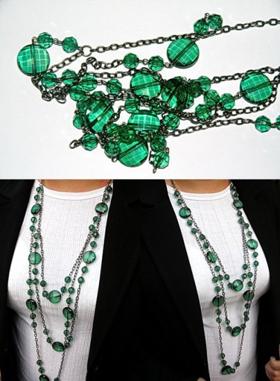 Emerald Green Crystal Like Bead Necklace BN_006