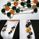 Black Crystal and Orange Pattern Acrylic Beads Necklace BN_010