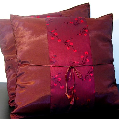 Pair Of  Silk Decorative Pillow Case Cover Cushion Maroon Red Pattern