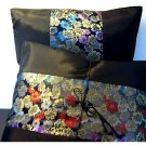 Pair Of Silk Decorative Pillow Case Cover Cushion Black With Floral Pattern