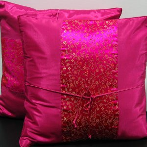 Pair Of Silk Decorative Pillow Case Cover Cushion Purple With Floral Pattern