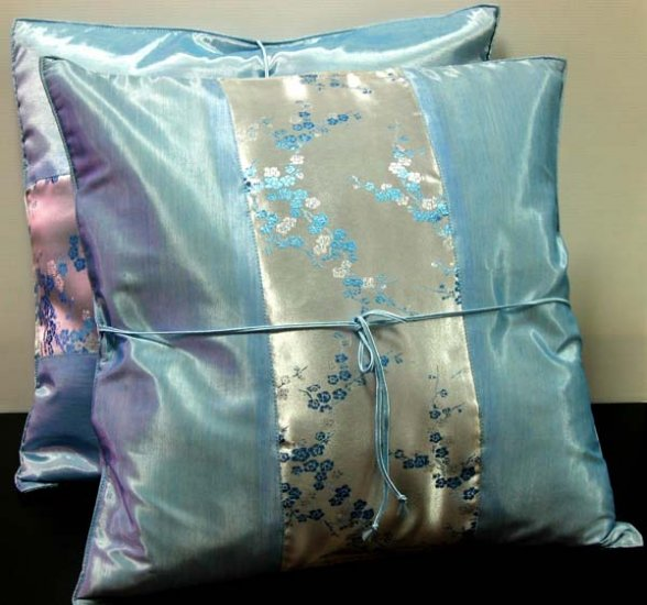 Pair of Silk Decorative Pillow Case Cover Cushion Cyan With Floral Pattern