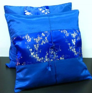 Pair of Silk Decorative Pillow Case Cover Cushion Blue With Floral Pattern