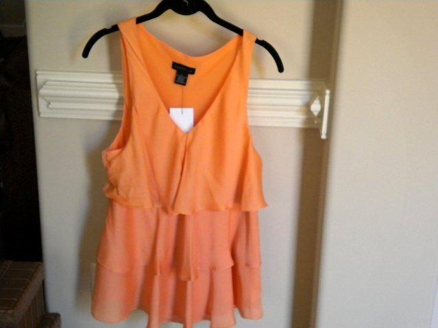 Rafaella Orange Sleeveless Women Blouse Top Sz Lg  NEW