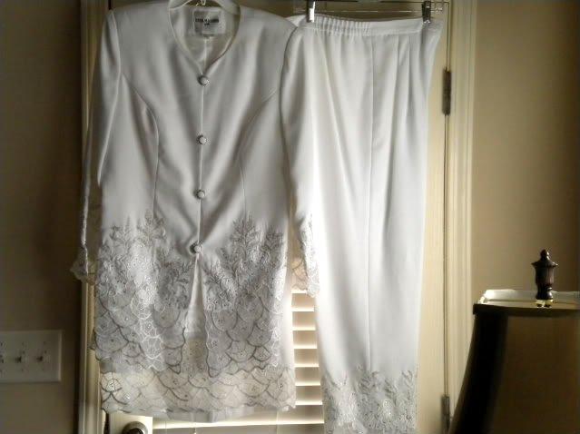 Nini Massini White Dress 3 Pc Skirt Pantsuit Suit Sz 12