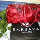 Barbara Milano Red Leather Croc Embossed Handbag Purse