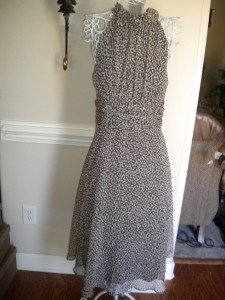 Connected Apparel Brown White Summer Dress Sz 14  NEW