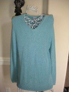 Chico's  Women Blue Women Ladies Sweater Sz 2 = Sz 12