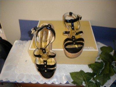 Michael Kors Leather Black Sandals Shoes Sz 8.5 M 8 1/2
