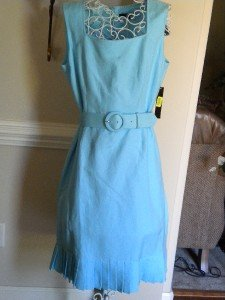 Alex Marie Sleeveless Turquoise Summer Dress Sz 14 NEW