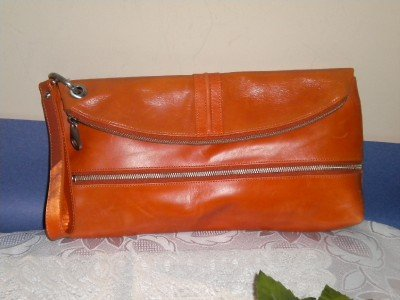 Kate Landry Orange Leather Clutch Handbag Purse Bag