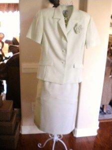 Kasper Women Business Dress Skirt Suit Green Check  12