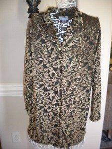Diane Von Furstenburg Black Gold Shirt Blouse Top NEW M