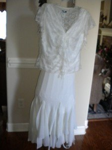 MSK 2 Pc Ivory Skirt Cocktail Wedding Outfit Set Size L