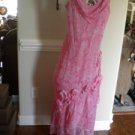 ICE Silk Pink White Sleeveless Summer Sun Dress Size 14