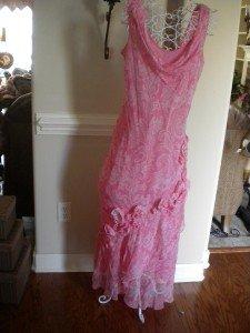 ICE Silk Pink White Sleeveless Summer Sun Dress Size 14