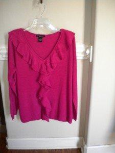 Susan Lawrence Women Fuschia Ruffle Sweater Top Size 1X