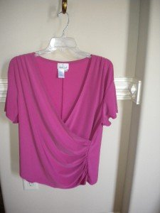 Coldwater Creek Women Shirred Pink Sweater Top XL