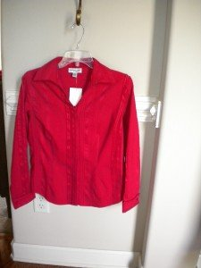 Coldwater Creek  Red Women Blouse Shirt Top PS 6 8 NEW