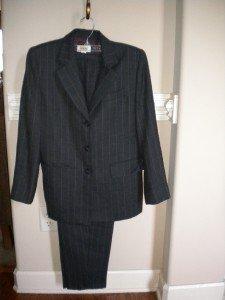 Talbots Petite Gray Pinstripe Pantsuit Pant Suit Size 2