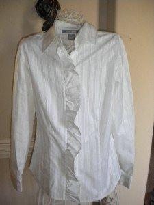 Ellen Tracy Women White Ruffle Blouse Shirt Top Size 6
