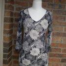 CABI Women Black/White Tunic Top Blouse Size M # 968 Nylon