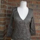 ODILLE Anthropologie Women Brown Lace Top Size XS S Lined  100% Nylon