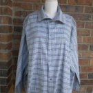ESKANDAR England Women Blue Plaid Blouse Shirt Size 1 Cotton 3X