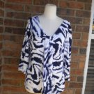 CHICO'S Women Navy/White Rayon Top Size 2 L 12 / 14