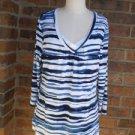 CHICO'S Women Blue/White Stripe Top Size 1 M 8 / 10 Rayon