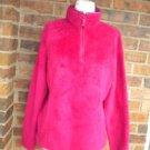 LANDS END Women Zip Fleece Jacket Size M 10 - 12 Burgundy 100% Polyester