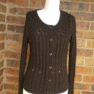ANN TAYLOR LOFT Women Brown Cardigan Sweater Size S Ramie/Nylon Long Sleeve