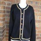 TALBOTS Women Black /Gold Wool Blend Cardigan Size L Sweater