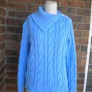 LAUREN RALPH LAUREN Blue Turtleneck Sweater Size L Women Cable Knit Large
