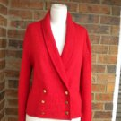 CARLISLE Red 100% Worsted Lambswool Cardigan Size M Women Sweater Lambs Wool