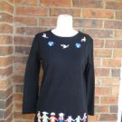 STORYBOOK KNITS for HSN Peace L/S Women  Top Size XS S Black multi