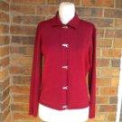 TALBOTS Made in Italy Viscose Merino Wool Cardigan S Size Women Sweater Burgundy
