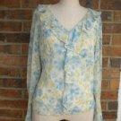 Ann Taylor Loft Blue Floral 100% Silk Blouse Top S